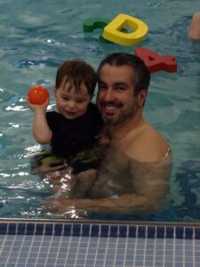 Charlie in pool