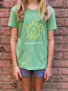 Charlies Heart Spread Sunshine Green Youth T-Shirt