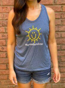 Charlies Heart Spread Sunshine Blue Tank